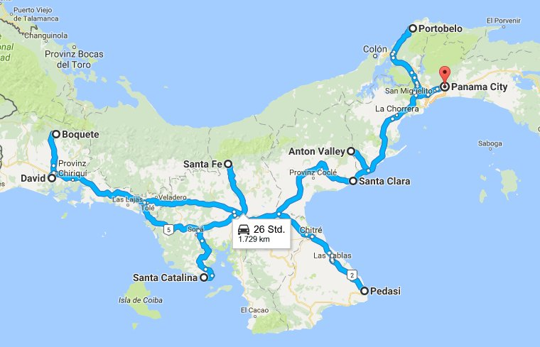 Route through Panama by car