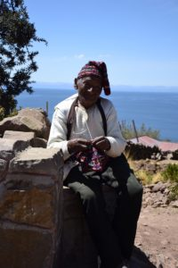 Taquile Island - knitting man