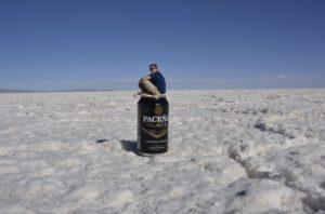 Paul on a can in Salar de Uyuni in Bolivia