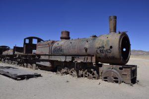 Train cementary close to Uyuni, Bolivia