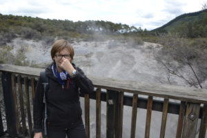Saskia Hohe at Geothermic area in New Zealand
