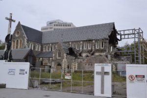 Destroyed cathedral in Christchurch, New Zealand