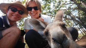 Saskia Hohe selfie with kangaroo Brisbane Lone Pine Koala Sanctuary