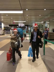 Saskia Hohe and Paul arriving in Singapore on Christmas