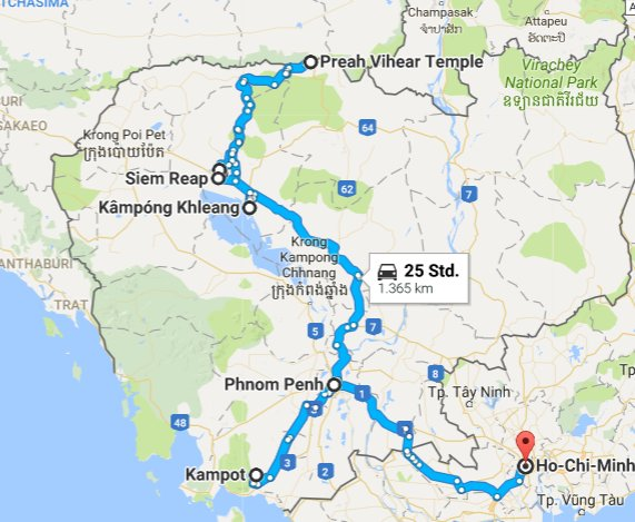 Route through Cambodia by bus and private driver