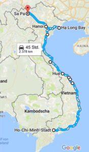 Our route through Vietnam