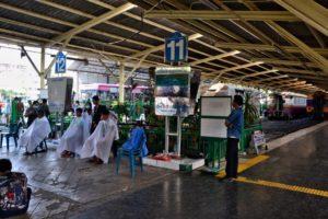 Hair dresser at Bangkok's train station