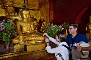 Saskia Hohe in ballons over Bagan in Myanmar Burma gold leaves