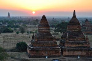 Sunrise in ballons over Bagan in Myanmar Burma