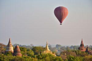 ballons over Bagan in Myanmar Burma