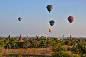 Ballons over ballons over Bagan in Myanmar Burma