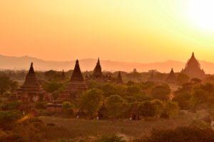 Sunset Bagan in Myanmar Burma
