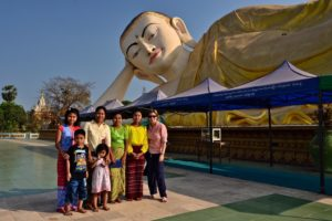 Saskia Hohe in front of Shwethalyaung Pagode Bago Myanmar Burma