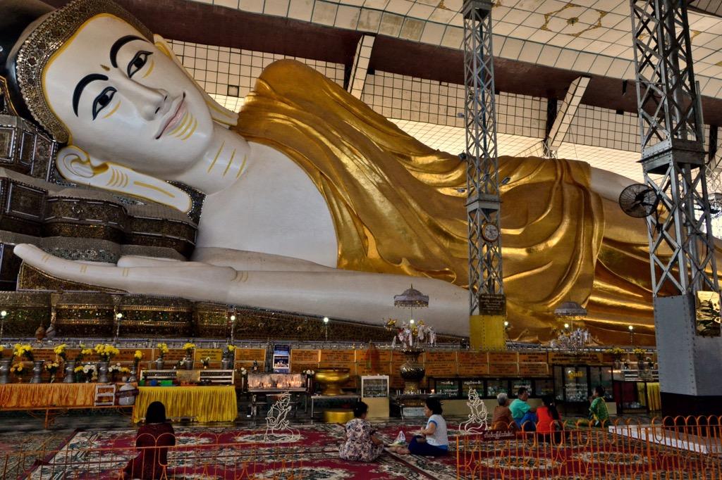 reclining Buddha inside the Shwethalyaung Pagode Bago Myanmar Burma