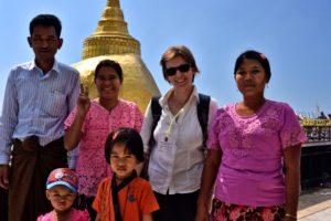 Saskia Hohe in Golden Rock Kinpun Myanmar Burma