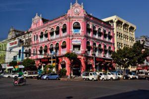 Colonial houses in Yangon Myanmar Burma