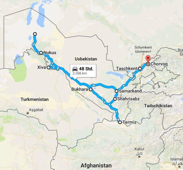 Self driving route through Uzbekistan