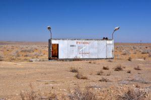 Petrol station in Uzbekistan's desert