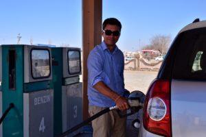 Paul at a historic petrol station