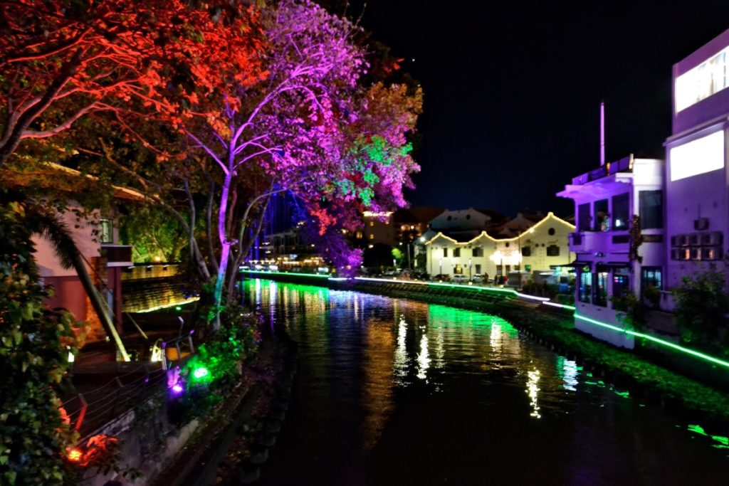 UNESCO Melaka bridge at night