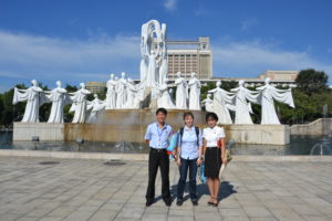 Saskia Hohe and the private guides in DPRK North Korea