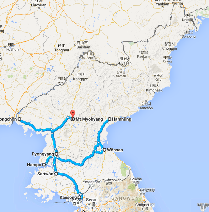 Travel route in DPRK North Korea