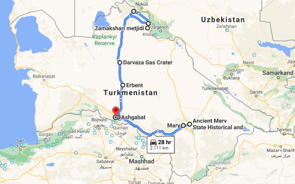 Route Turkmenistan by driver car
