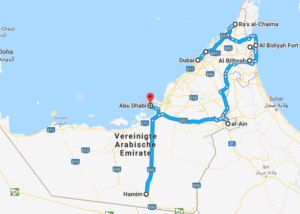 Route United Arab Emirates car driving self driving