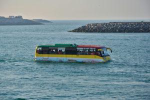 Heritage Village Breakwater Island United Arab Emirates vereinigte Arabische Emirate skyline Abu Dhabi swimming bus
